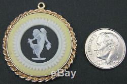 Vintage 9k Gold Wedgwood Jasperware Tri-color Black Yellow Medallion Pendant
