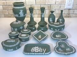 Vintage ESTATE LOT of 17 WEDGWOOD SAGE GREEN/WHITE JASPERWARE ROMAN