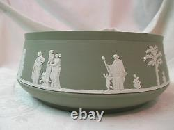Vintage England Wedgwood sage green Jasperware large inverted rim Bowl Rare