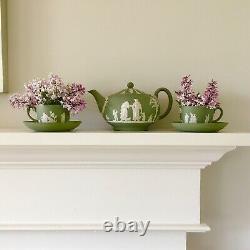 Vintage Green White Wedgwood Jasperware Teapot Teacups Saucers Set RARE Antique