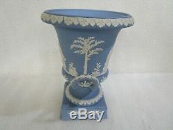 Vintage Large Wedgwood Blue Jasperware Twin Handled Pedestal Urn Vase, RARE