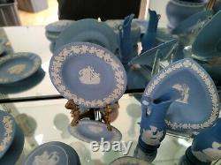 Vintage Lot of 16 Wedgewood Blue Jasperware Plates Boxes Vase Pitcher England