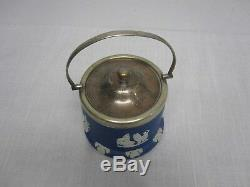 Vintage Signed Lord Wedgwood Made In England Dark Blue Jasperware Biscuit Barrel