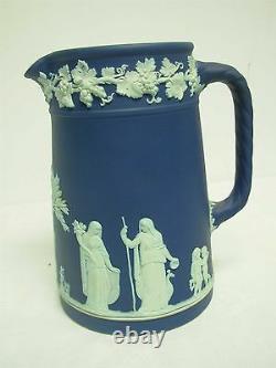 Vintage Signed Wedgwood Made In England Dark Blue Jasperware 7 Pitcher