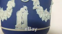 Vintage WEDGWOOD England Jasperware Cobalt Blue White Grecian Cache Pot Planter