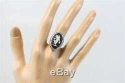 Vintage Wedgwood 14K White Gold Black Jasperware Ring Gorgeous Luxury (6) N5727