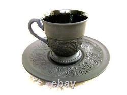 Vintage Wedgwood Black Basalt Jasperware Demitasse Cup And Saucer