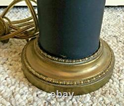 Vintage Wedgwood Black Basalt Jasperware & Glass Table Lamp Brass Base