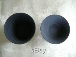 Vintage Wedgwood Black Basalt Jasperware Patrician Pattern Egg Cup & Open Salt