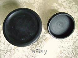 Vintage Wedgwood Black Basalt Jasperware Round Lidded Container Tobacco Jar