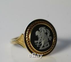 Vintage Wedgwood Black Jasperware Cherub 14k Gold Ladies Ring Size 7.25