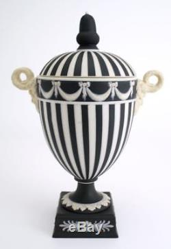 Vintage Wedgwood Black and White Jasper Jasperware Lidded Vase Urn England 1950s