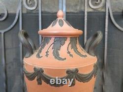 Vintage Wedgwood Black on Terracotta Jasperware Pedestal Urn Vase Drapery Swags
