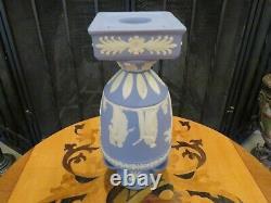Vintage Wedgwood Blue Jasper Ware 9 Tall Apollo Muses Trophy Pedestal Vase Urn