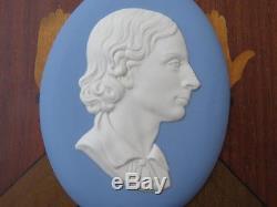 Vintage Wedgwood Blue Jasper Ware John Keats Oval Medallion