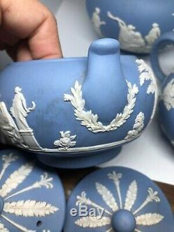 Vintage Wedgwood Blue Jasper Ware Teapot Creamer and Sugar Set