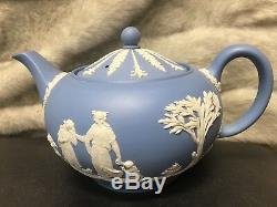 Vintage Wedgwood Blue Jasper Ware Teapot, Creamer and Sugar (c. 1930)