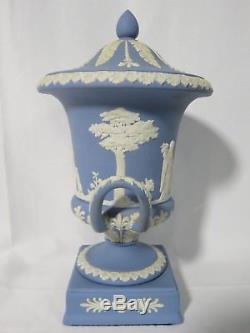 Vintage Wedgwood Blue Jasper ware Lidded Urn 11.5 Tall
