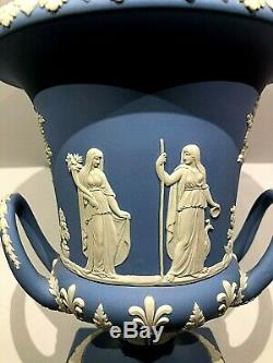 Vintage Wedgwood Blue Jasperware 11.75 Urn Vase Sacrifice Figures New
