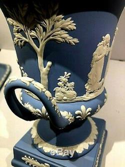 Vintage Wedgwood Blue Jasperware 11.75 Urn Vase Sacrifice Figures New NOS