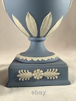 Vintage Wedgwood Blue Jasperware 12 Urn 2 handled with Lid Made In England