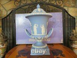 Vintage Wedgwood Blue Jasperware Campana Pedestal Urn Vase Sacrifice Figures MIB