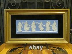 Vintage Wedgwood Blue Jasperware Dancing Hours 2 Gold Framed Plaque