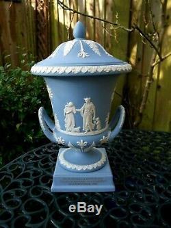 Vintage Wedgwood Blue Jasperware Lidded Urn C1995- Campagna