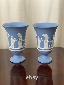 Vintage Wedgwood Blue Jasperware Sacrifice 7 1/2 Footed Pedestal Vase Pair of 2