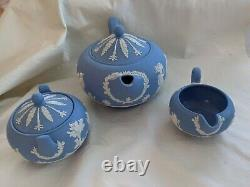 Vintage Wedgwood Blue White Jasperware Tea Set Teapot Sugar Bowl Cream jug
