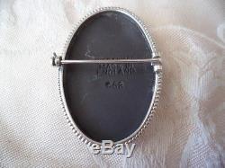 Vintage Wedgwood Brooch Pin Black Jasper White Jasperware Sterling Silver Frame