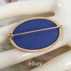 Vintage Wedgwood Brooch Pin Gold Rim Portland Blue White Jasperware Wedgewood