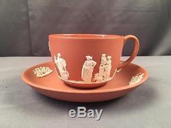 Vintage Wedgwood Circa 1957 Salmon Rose Jasperware Cup & Saucer