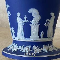 Vintage Wedgwood Cobalt Blue Dip Jasperware Etruscan 8 Trumpet Vase