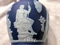 Vintage Wedgwood Cobalt Blue Dipped Jasper Ware 6 Portland Vase c. 1910 Nice