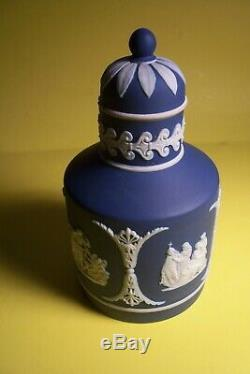 Vintage Wedgwood Cobalt Blue Jasperware Tea Caddy-england L-e 115
