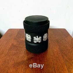 Vintage Wedgwood Cream on Black Jasperware Tea Caddy