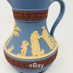 Vintage Wedgwood England Tri Color Etruscan Crimson Blue Jasperware Pitcher Jug