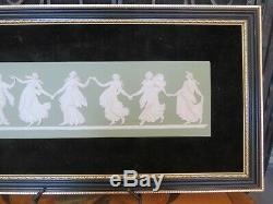 Vintage Wedgwood Green Jasper Ware Dancing Hours Black Gilt Large Framed Plaque