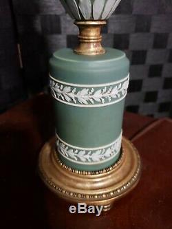 Vintage Wedgwood Green Jasperware & Brass Lamp Neoclassical Design 3 Light
