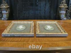 Vintage Wedgwood Green Jasperware Oval Floral Girl Cameo Framed Plaque Pair