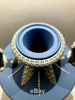 Vintage Wedgwood Jasperware Blue (Solid) Covered Vase Urn #264 withMuses NOS MT