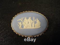 Vintage Wedgwood Jasperware Brooch, 14 K Gold Mounting