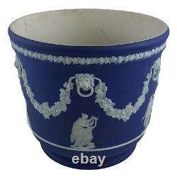 Vintage Wedgwood Jasperware Cobalt Blue Cache Pot Jardiniere Made In England 7