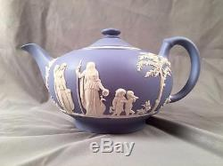 Vintage Wedgwood Jasperware LIGHT BLUE Classic Cherub Putti Relief Tea Pot