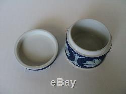 Vintage Wedgwood Jasperware Round Miniature Trinket / Dresser Box