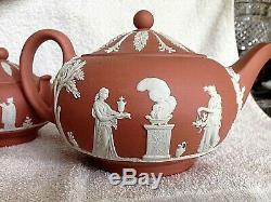 Vintage Wedgwood Jasperware Terracotta 3-PC Tea Set MINT MUSEUM QUALITY