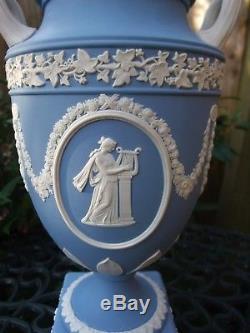 Vintage Wedgwood Large Blue Jasperware Lidded Pedestal Urn The Muses C1975