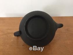 Vintage Wedgwood Matte Black Basalt Jasperware Asian Modern Teapot
