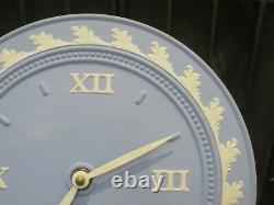 Vintage Wedgwood Pale Blue Jasperware Hanging Wall Clock Roman Numerals